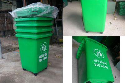 Thùng rác HDPE 60 lít có 4 bánh xe